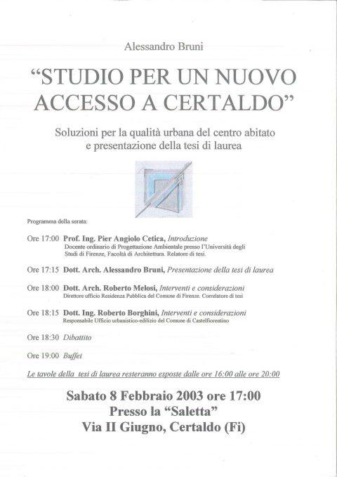 """Conferenza e mostra """"Studio per un nuovo accesso a Certaldo"""""""